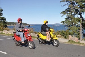 Acadia Outfitters - Scooter Rentals! :: Our Acadia Fun Scooters are great for riding the Park Loop Road in Acadia National Park! They're easy to ride, environmentally friendly, and zippy! Rentals start at $49.