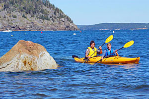 Coastal Kayaking Tours - 1/2 day to overnight camp :: Mount Desert Island's premier kayaking outfitter over 30 years! Half/full day tours, Harbor & sunset tours, solo & camping tours, group tours & more! See abundant wildlife!