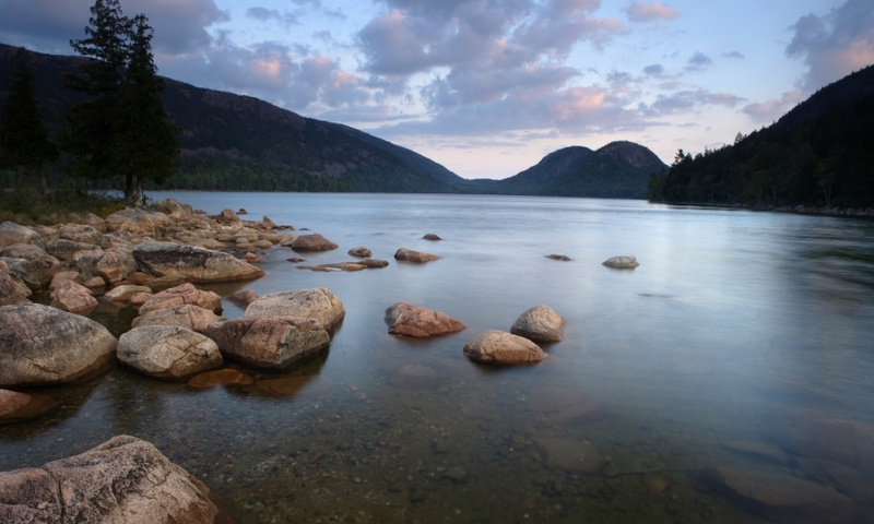 Acadia National Park Maine Jordan Pond Bubble Mountains