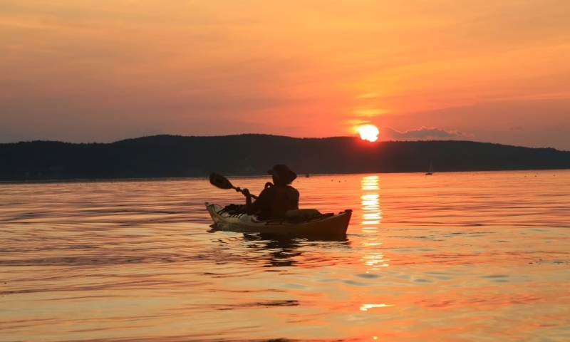Kayaking Kayak Frenchman Bay Bar Harbor Maine Sunset