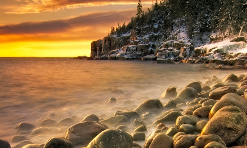 Acadia National Park Maine Otter Cliffs Winter Boulder Beach