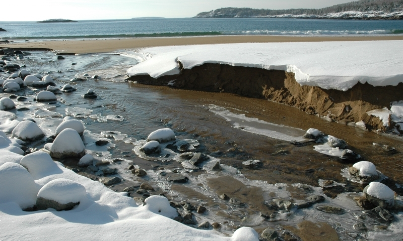 Sand Beach Acadia National Park Maine Winter