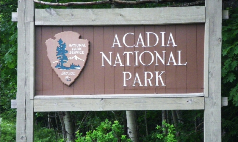 Acadia National Park Maine Welcome Sign