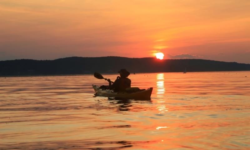 Kayaking Kayak Frenchman Bay Bar Harbor Maine Sunset